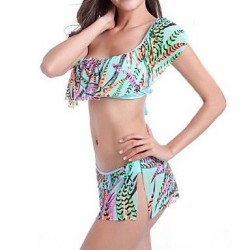 Nylon Polyester Sexy Print Single Shoulder Falbala Sleeve Wireless Bikini