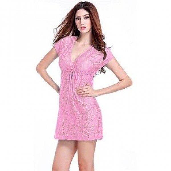 Lace/Polyester Sexy Lace-up Cut Out Cover-Ups
