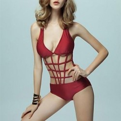 Sexy Fashion Burgundy Hollow Mesh Push Up One-piece Swimsuit Uk For Women