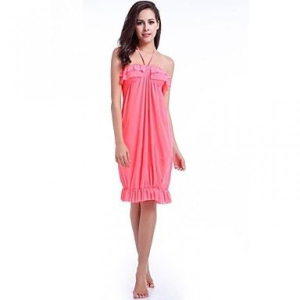 Nylon/Polyester Sexy Solid Color Halter Cover-Ups