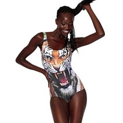 Tiger Head Polyester Wireless Halter One Size One Pieces Swimwear Uk For Women