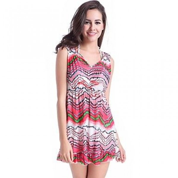 Newy Style Polyester Dress V Neck Princess Multi-pink Swimdress no Bra