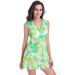 Newy Style Polyester Dress V Neck Princess Multi-green Swimdress no Bra