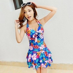 Floral Fashion Ruched One Piece Swimdress Swimsuit Uk For Women