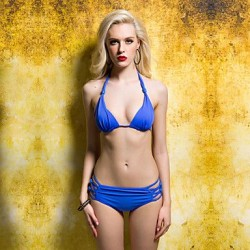 Blue Beads Lacing Bikini Swimwear Uk For Women