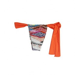 Pink Queen® Nylon/Spandex Orange Fashion Sexy Stripe String Swimwear Uk For Women Bottom