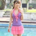 Fashion Stripe Gather Swimwear Uk For Women(More Colors)