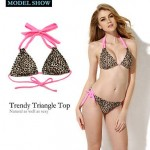Colloyes 2019 New Sexy Leopard + Pink Double Strap Triangle Top with Classic Cut Bottom Bikini Swimwear Uk For Women Set(Size:S/M/L)