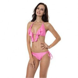 RELLECIGA 2019 Creamy Pink Full Lined Ruffle Triangle Top Bikini Swimwear Uk For Women