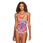 Nylon/Polyester Wireless Sexy National Style Floral One-pieces Swimwear Uk For Women