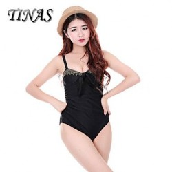 Wireless Padded Bras Dot Solid Halter One Pieces Nylon Polyester