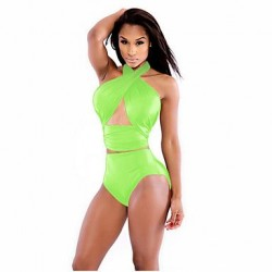 Wireless Solid Halter Tankinis (Polyester)