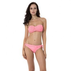 RELLECIGA 2019 Pink Bandeau Top Bikini With Shining Stones On The Decorative Leaves & Push Up Molded Cups