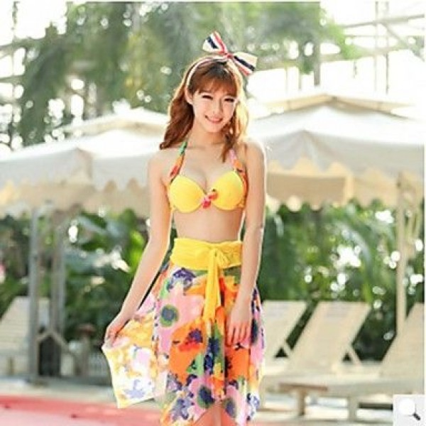 Beach Honey®2019 Latest Hight Elasticity Polyster Colorful Swimwear Uk For Women with Removable Steel Support Bra Pad 3pc Set