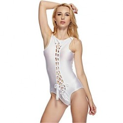 Pink Queen® Nylon Spandex White Backless Sexy Ladies Cut Out Monokini