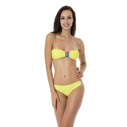 RELLECIGA 2014 Latest Bandeau Top Bikini with Colorful Strips at center Front and Low Waist Bottom Swimwear Uk For Women