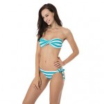 RELLECIGA Kaleidoscope Collection – Green & White Stripe Twist Bandeau Top with Removable Halter Strap