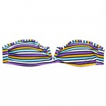 New Bathing Suit! RELLECIGA Purple/White Multi Stripe Bandeau Top with a Sexy Open V Wire at Center Front Bikini