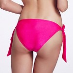 The Fille Adjustable Stripped /Rose Red Triangle Bottoms of Bikinis