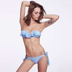 Wireless/Double Free Vertical V Clasp/Solid Padded Fluorscent Blue Bras Ruffle Bandeau Bikinis