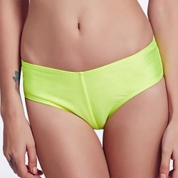 The Fille Cute Fluorescent Purple Bowknot Mid Waist Solid Fluorescent Green Bikini Panties