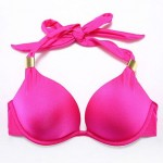 The Fille Bombshell Push-up/Palmate Padded Underwire Bras/ Solid Rose Red Halter Bikini Tops