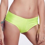 The Fille Cute Rose Red Bowknot/Mid Waist/ Solid Fluorescent Green Bikini Panties