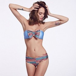 The Fille Sexy Floral Bowknot/Wireless/Padded Bras /Fluorescent Blue Bandeau Bikini Tops