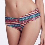 he Fille Cute Fluorescent Pink Bowknot/Mid Waist/ Multi-color Bikini Panties