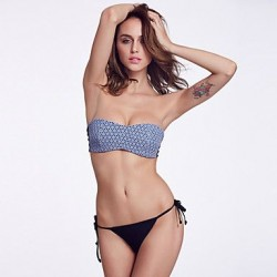 The Fille Simple Bodyfit Push-up/Wireless/Padded Bras Blue Lacy /Black Stripped Bandeau Bikini Tops