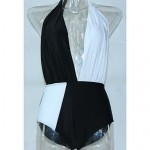 Polyester Black And White Patchwork One-Piece Sexy Swimwear Uk For Women