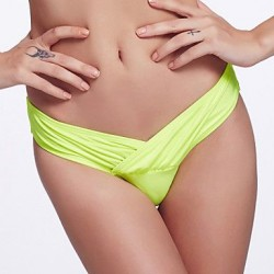 The Fille Folded deep V Shaped/Unique Wrap Front/Solid Neon Green Bottoms of Bikinis