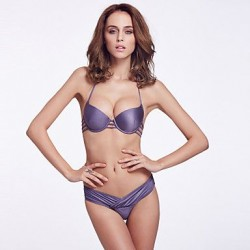 The Fille Sexy Bombshell Push-up/Padded Underwire Bras/Solid Grape Purple Halter Tops of Bikinis