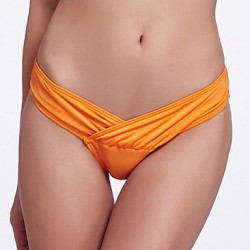 The Fille Folded deep V Shaped/Unique Wrap Front/Solid Orange Bottoms of Bikinis