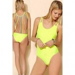 Padless Bra Style Solid Strappy Halter One-pieces Swimwear Uk For Women (Spandex)