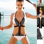 Polyester Polka Dot Patchwork One-Piece Sexy Swimwear Uk For Women with Zip