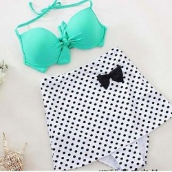Polyester Polka Dot Sexy Bikinis Swimwear Uk For Women with Pad