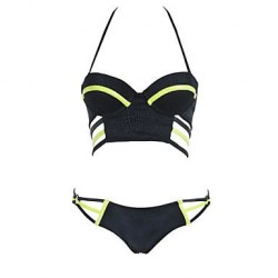 Polyester Patchwork Slim Bandage Sexy Bikinis Swimwear Uk For Women