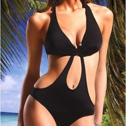 Polyester Black One-Piece Sexy Swimwear Uk For Women