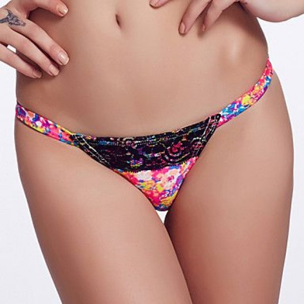 The Fille Sexy Black Lacy /Color Block/Low Rise/Retro Printed Triangle Bikini Panties