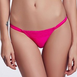 The Fille Sexy Red Lacy Color Block Low Rise Rose Red Triangle Bikini Panties