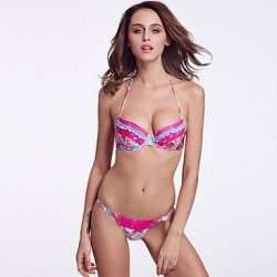 The Fille Sexy Bombshell Push Up Padded Underwire Bras Watercolor Printed Floral Halter Bikini Tops