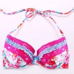 The Fille Sexy Bombshell Push-up/Padded Underwire Bras/ Watercolor Printed Floral Halter Bikini Tops