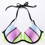 The Fille Push-up/Padded Bras/Underwire Bra Combined Blue/Pink/Green Halter Bikini Tops