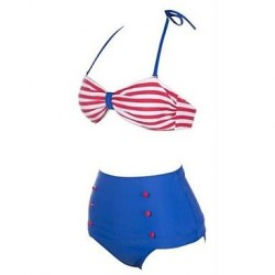 Polyester Stripe Sexy Bikinis Swimwear Uk For Women with Pad And Decorative Button