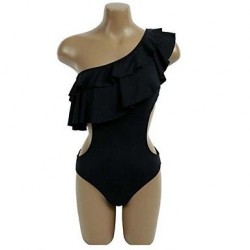 Polyester Solid One Shoulder One-Piece Sexy Swimwear Uk For Women