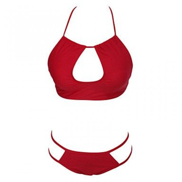Bust Open Hollow-out Red Bikini