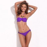 Purple Storm –RELLECIGA Jungle Jewel 1/2 Cup Bandeau with Mild Push-up Molded Foam Padding Bikini Set