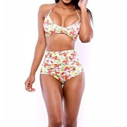 Polyester Floral Wireless Padless Multi-Pieces Swimwear Uk For Women