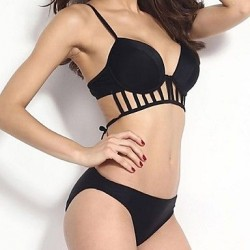 Push-up Solid/Bandage/Geometric Halter Bikinis Strap Halter Hollow Small Bust Swimwear Uk For Women (Spandex)